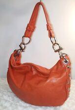 KAREN KALASHNIK Orange Leather Studded HOBO Shoulder Bag Slouchy