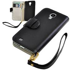 Black PU Leather Wallet Case for Samsung Galaxy S4 SIV i9500 - NEW