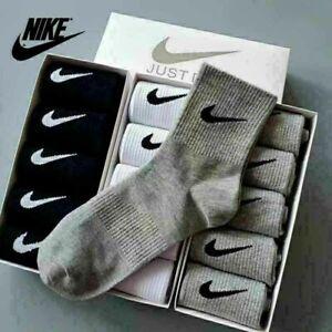 5 Pairs NIKE Mens Womens Socks Quarter Ankle Cotton Trainer Sports Socks AU