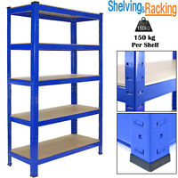 Garage Racking 5 Tier Shelving Unit Boltless Heavy Duty Metal Shelf Shed Storage