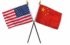 "USA American & China Chinese Flags 4""x6"" Desk Stick Table (NO BASE)"