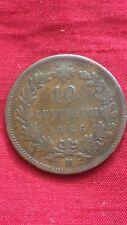 Vittorio Emanuele II 1866 10 Centesimi Cobre Moneda Milan marca mint M