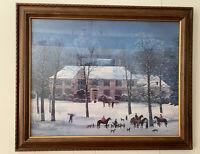 """M Delacroix """" LA CHASSE D' HIVER """" Winter Hunt Scene Signed Custom Framed Large"""