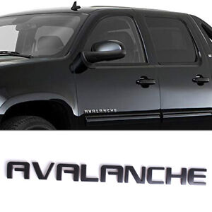 Matte Black AVALANCHE Side Door Tailgate Rear Trunk Emblem Badge Decal for Chevy