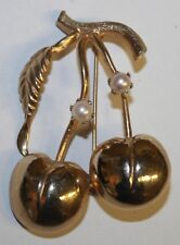 Vintage Signed Brooks Two Cherries on a Stem w/ Faux Pearls Pin Brooch Cherry