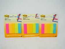 3 Pks- Post-it, Post Flags Assorted Colors‑ 1/2 in x 1 3/4 in