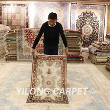 YILONG 2.5'x4' Small Hand Knotted Classic Silk Carpet Nice Home Decor Rug LH944B