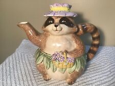 Vintage Mary Ann Baker Raccoon with Violets Teapot Handpainted Japan Otagiri