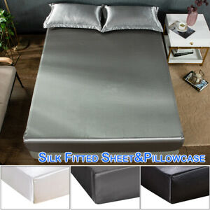 Silk Fitted Sheet Pillowcase Bedding Set Bed Sheet for Single Queen King Size