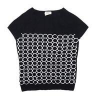 Next Womens Size 14 Spotted Cotton Blend Black Top (Regular)
