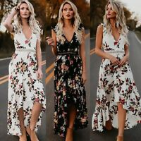 Women Boho Long Maxi Dresses Summer Evening Party Cocktail Beach Sundress Plus