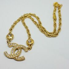 Authentic Rare Vintage Chanel Small CC Logo Gold Rhinestone Necklace Pendant