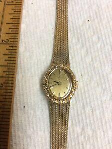 BEST Women's Omega Watch Mechanical Wind Diamond Studded Bezel 10K Gold Filled