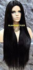 Long Straight W Hair Part Jet Black Full Synthetic Wig Hair Piece Heat Ok #1 NWT