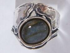 R01237LB Shablool Israel Sterling Silver Ring Oval Labradorite Black Blue Ladies