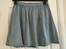 NEXT Ladies Blue Lightweight Denim Knee Length Skirt Size 10