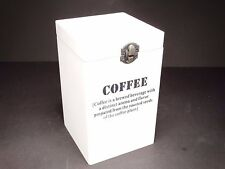 Vintage Style White Wooden Coffe Storage Box with Lid And Clasp