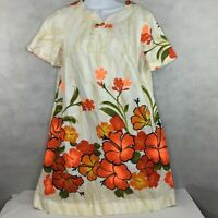 Vintage Tropicana Hawaii Dress Sz 12 White Orange Floral Fit Flare Hibiscus