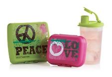Tupperware Kids Lunch Set ~ Peace Love Sandwich Keeper~Oyster~Tumbler New