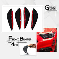 4Pcs Gloss Black Car Front Bumper Canards Splitter Body Spoiler Fins Lip Kit