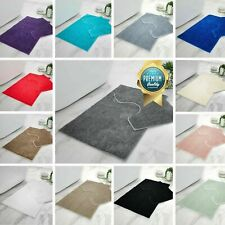 LUXURY SHINY SPARKLING BATH MAT PEDESTAL SET NON SLIP BATHROOM TOILET RUG 2 PC