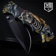 Black NATIVE AMERICAN Roses WOLF HEAD SKULL Spring Assisted Pocket Knife 3D ART