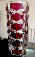 French Vintage Retro J. G. Durand Clear & Ruby Flash Geometric Glass Vase