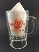 TWIN KISS ROOT BEER Heavy Glass Mug Glass Red Logo Vintage