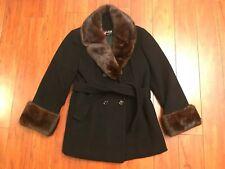 Vintage Black Wool Brown Mink Fur Muff Collar Cuffs Winter Belt Peacoat Womens S