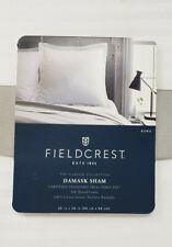 Fieldcrest White Damask Stripped Euro Cotton Pillow Sham 26 x 26