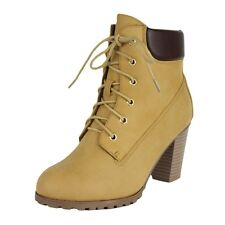 Womens Padded Ankle Boots Lace Up Chunky Stacked Heel Rugged Camel Booties Shoes