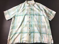 Tommy Bahama Mens Colorful Plaid Front Pocket Button Front Silk Shirt Size XL