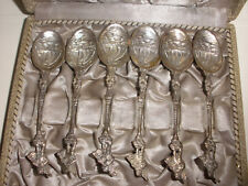 VINTAGE SCANDINAVIAN 830 SILVER 6 FIGURAL SPOONS SET WITH VIKING SHIP BOXED