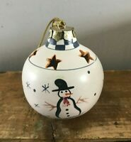 Vtg Hand Painted Snowman Star Cutouts Ceramic Pottery Christmas Ornament 3.5""