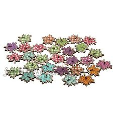 50pcs Mixed Color Maple Leaf Shape Wooden Buttons Fit Scrapbooking And Sewing J