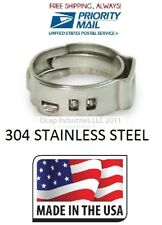 """100 3/4"""" PEX 304 Stainless Steel Ear Clamp Cinch Ring Crimp Pinch Fitting Tubing"""