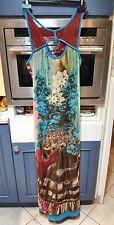 Magnifique maxi robe longue save the queen imprimé multicouleur M L 38 40
