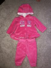 🌟 0-3 Months 🌟 Baby Girl Velour Tracksuit 2 Piece Outfit Set Spanish 🌟