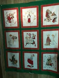 Vintage Spring Industries Hallmark Norman Rockwell Christmas Panels (9) Fabric