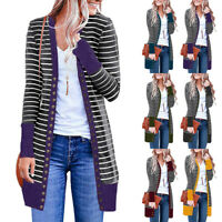Womens Casual Long Sleeve Stripe Patchwork Coats Long Cardigan Tops Blouse Coat