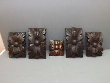 5 pretty old carved oak decorations, flowers