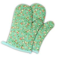 2 Pack-Oven Mitts Heat Resistant Kitchen Pot Holder Cooking Gloves, Green Flower