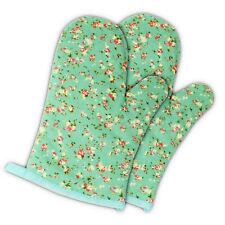 2 Pack-Oven Mitts Heat Resistant Kitchen Pot Holder Cooking Gloves, Green Flower