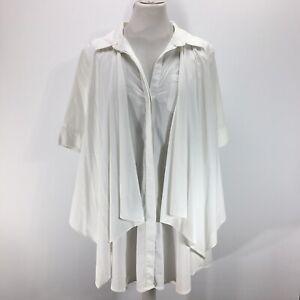 BCBGMaxazria White Shirt Waterfall Front Large Collared Short Sleeve