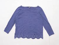 Laura Ashley Womens Size 8 Floral Cotton Purple Top (Regular)