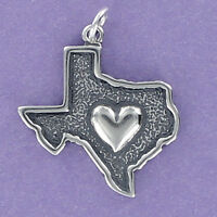 Heart of Texas Charm Sterling Silver for Bracelet State Outline Dallas Austin