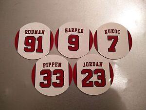 Chicago Bulls Magnet Set 90's - Michael Jordan Pippen Rodman Toni Kukoc Harper