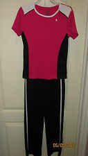 Youth Large 10 12 Danskin Now Black Pink Casual Athletic SS Shirt & Pants Outfit