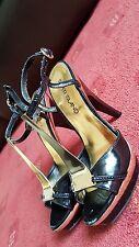 River Island Black Patent Gold Platform Mary Jane shoes Heels Size 36 UK 3
