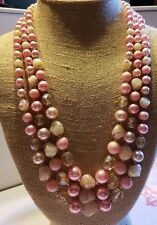 """Vintage Japan 3 Strand Pink Plastic Bead Nacklace Faux Pearl Silver Tone 22"""""""